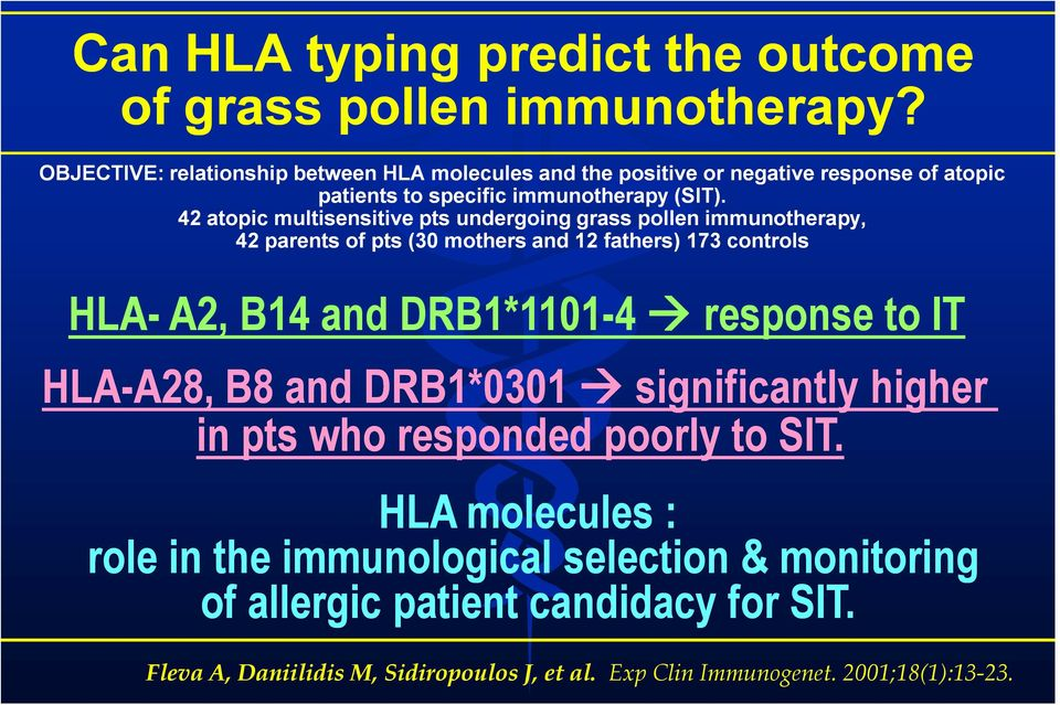 42 atopic multisensitive pts undergoing grass pollen immunotherapy, 42 parents of pts (30 mothers and 12 fathers) 173 controls HLA- A2, B14 and DRB1*1101-4