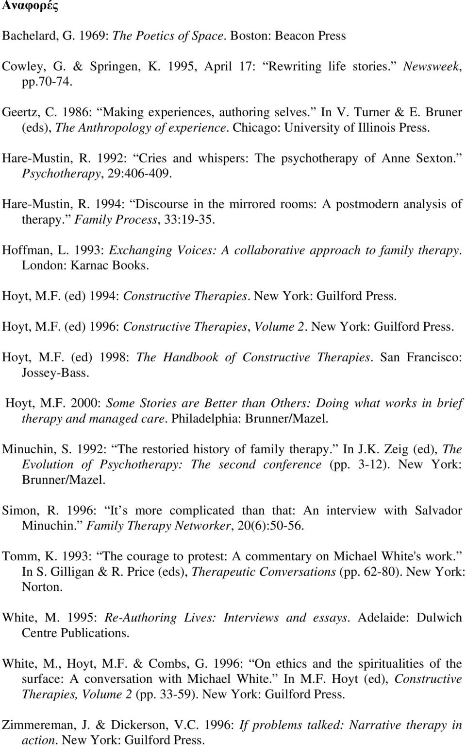 1992: Cries and whispers: The psychotherapy of Anne Sexton. Psychotherapy, 29:406-409. Hare-Mustin, R. 1994: Discourse in the mirrored rooms: A postmodern analysis of therapy.