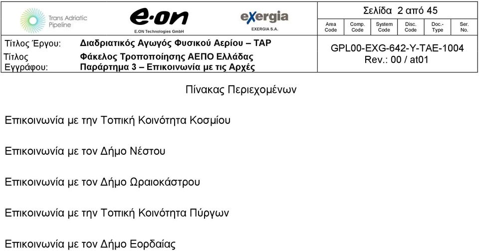 Comp. Code Σελίδα 2 από 45 System Code Disc. Code Doc.- Type GPL00-EXG-642-Y-TAE-1004 Rev.: 00 / at01 Ser. No.