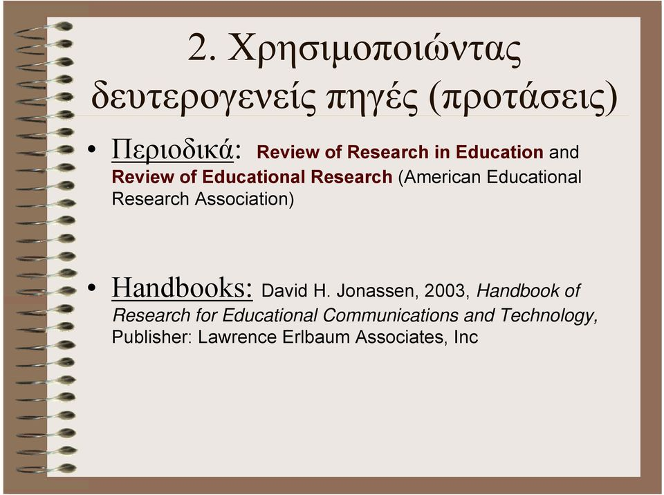Research Association) Handbooks: David H.