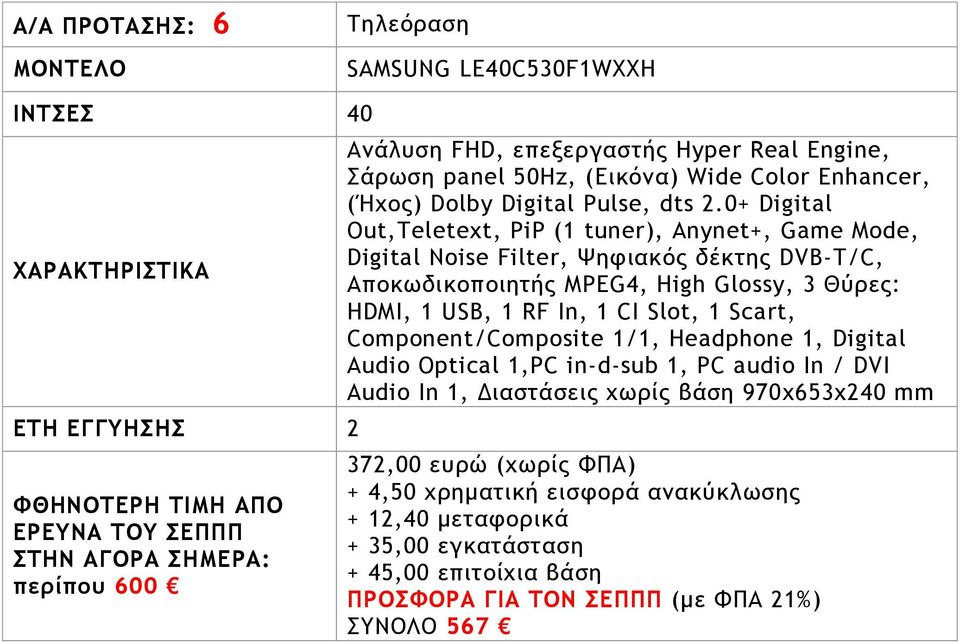 0+ Digital Out,Teletext, PiP (1 tuner), Anynet+, Game Mode, Digital Noise Filter, Ψητιακόπ δέκςηπ DVB-T/C, Απξκχδικξπξιηςήπ MPEG4, High Glossy, 3 Θύοεπ: HDMI, 1 USB, 1