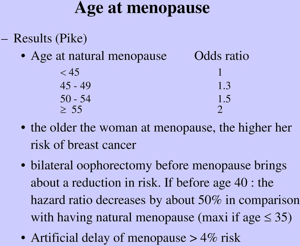 before menopause brings about a reduction in risk.