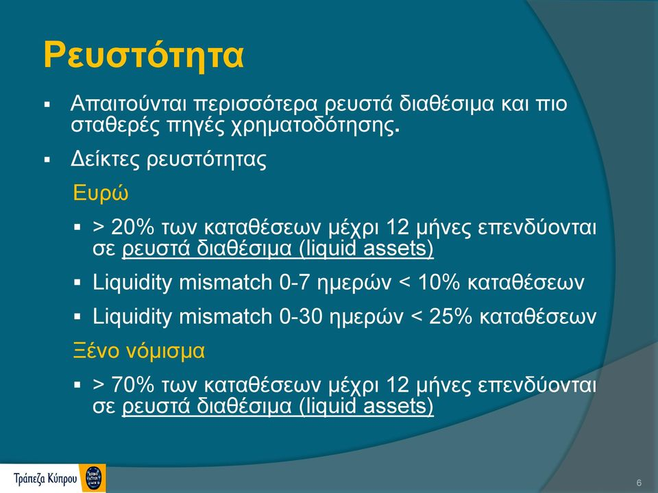 (liquid assets) Liquidity mismatch 0-7 ημερών < 10% καταθέσεων Liquidity mismatch 0-30 ημερών <