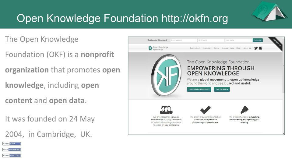 organization that promotes open knowledge, including