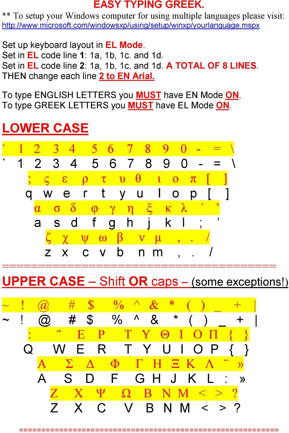 To type ENGLISH LETTERS you MUST have EN Mode ON. To type GREEK LETTERS you MUST have EL Mode ON.