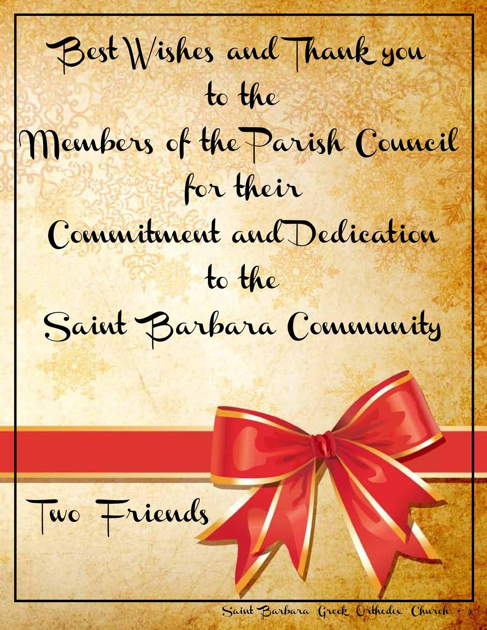 Dedication to the Saint Barbara Community