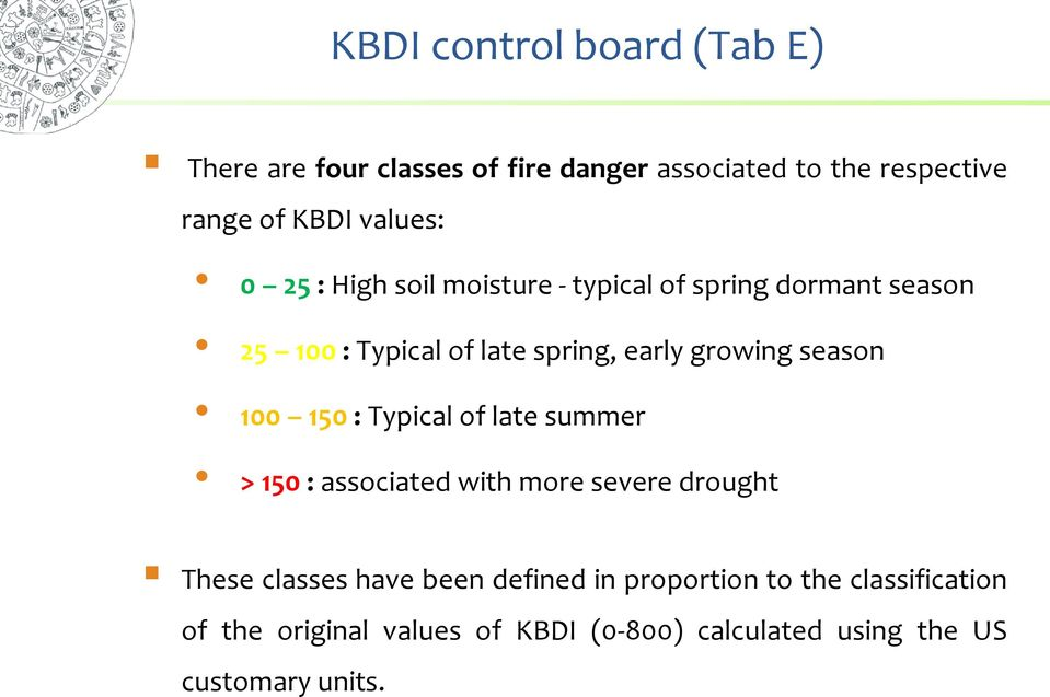 growing season 100 150 : Typical of late summer > 150 : associated with more severe drought These classes have
