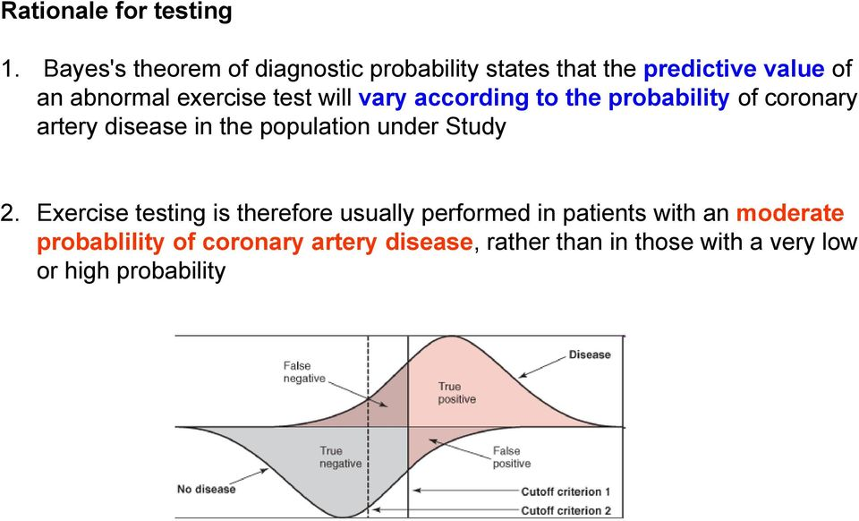 test will vary according to the probability of coronary artery disease in the population under Study