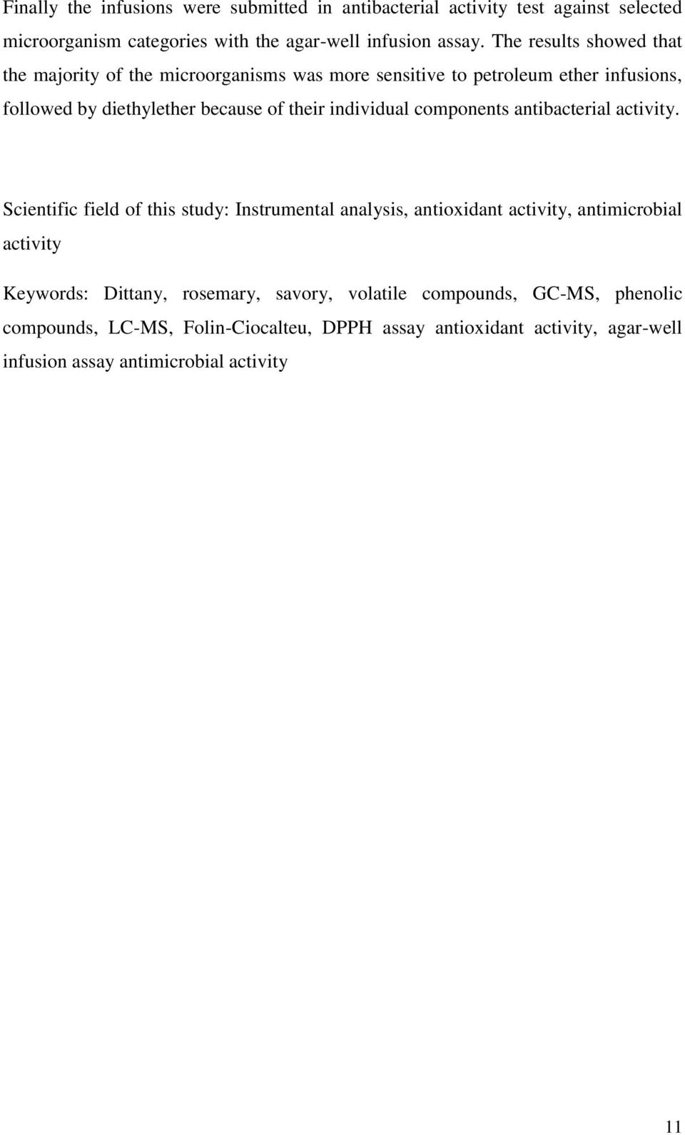 individual components antibacterial activity.