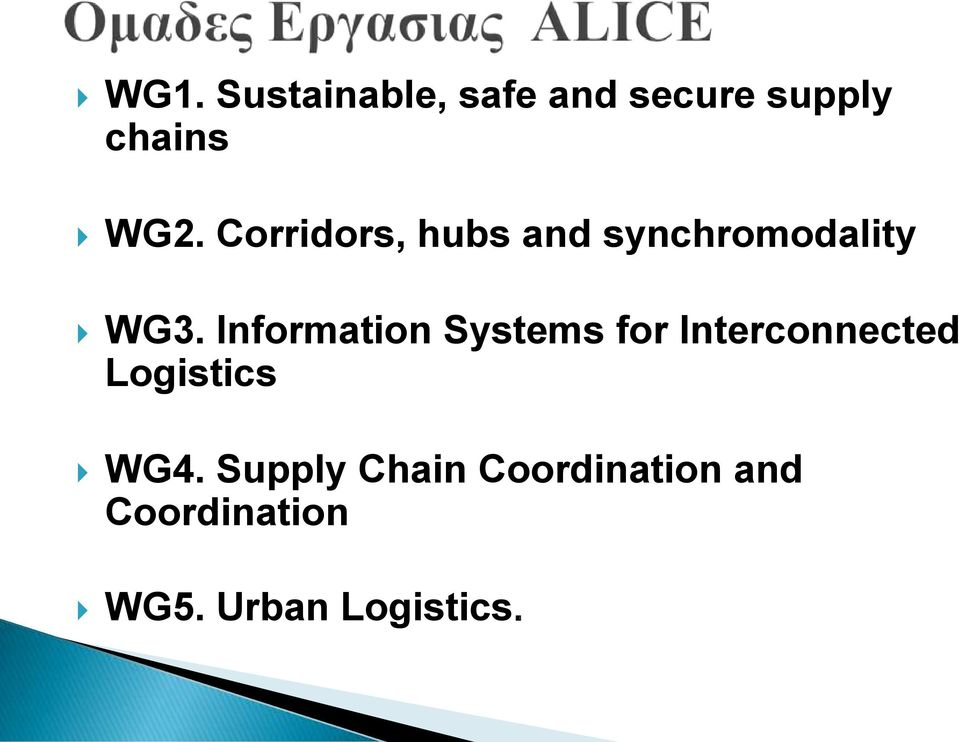 Information Systems for Interconnected Logistics WG4.