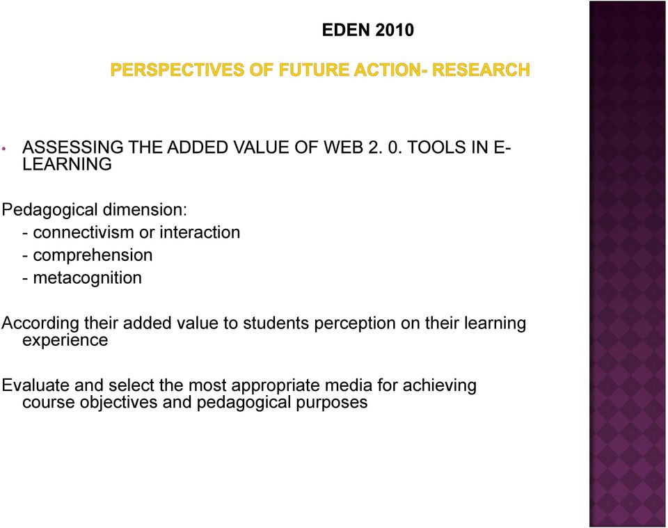 students perception on their learning experience Evaluate and