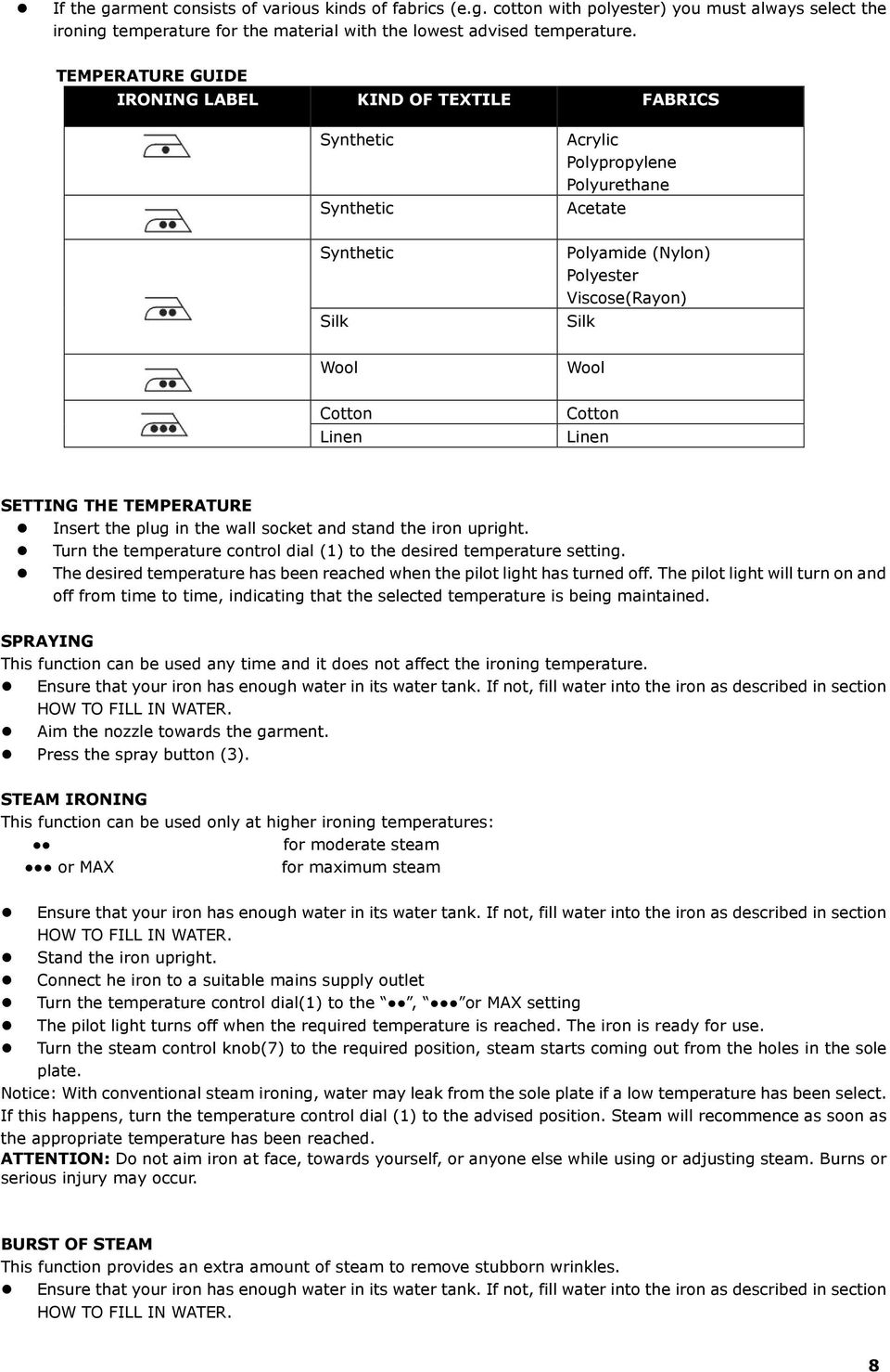 Linen Cotton Linen SETTING THE TEMPERATURE Insert the plug in the wall socket and stand the iron upright. Turn the temperature control dial (1) to the desired temperature setting.