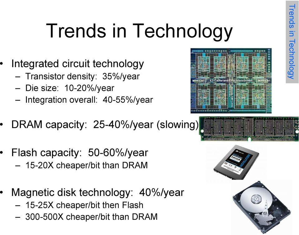 25-40%/year (slowing) Flash capacity: 50-60%/year 15-20X cheaper/bit than DRAM