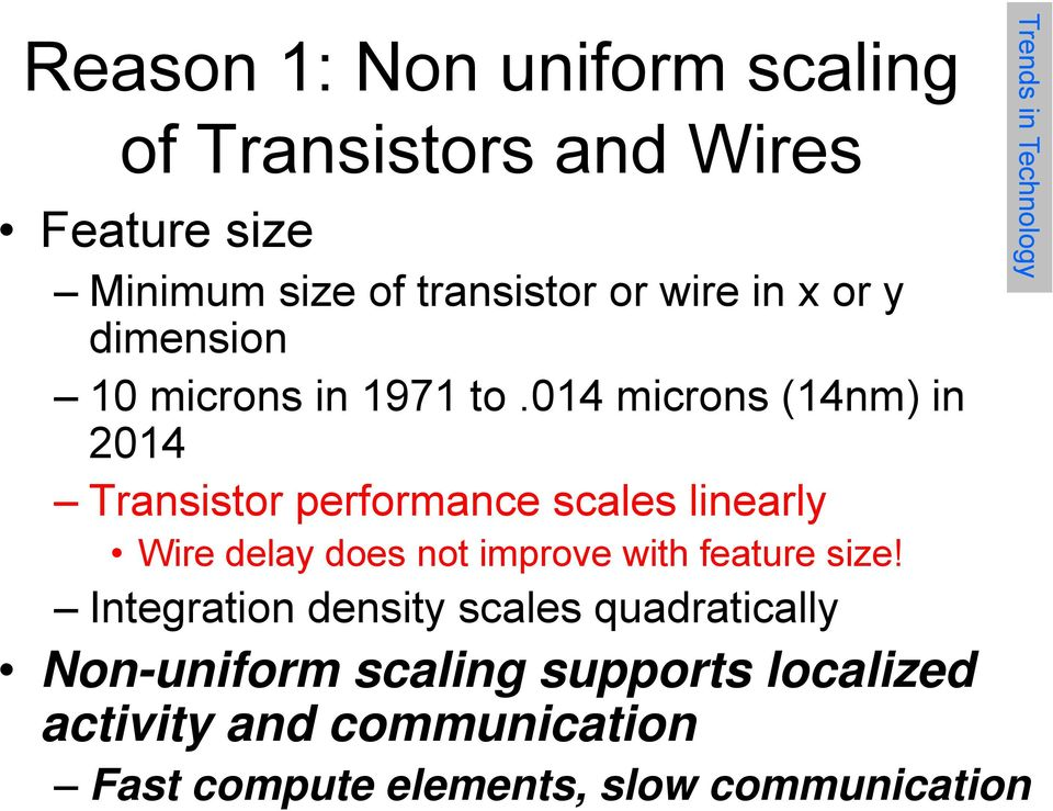 014 microns (14nm) in 2014 Transistor performance scales linearly Wire delay does not improve with feature
