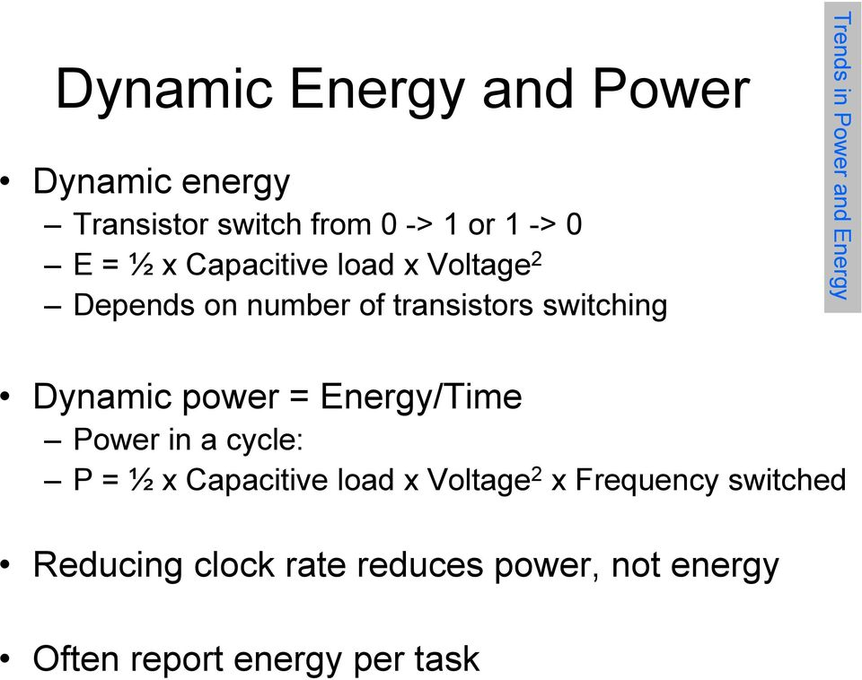 Energy Dynamic power = Energy/Time Power in a cycle: P = ½ x Capacitive load x Voltage 2 x