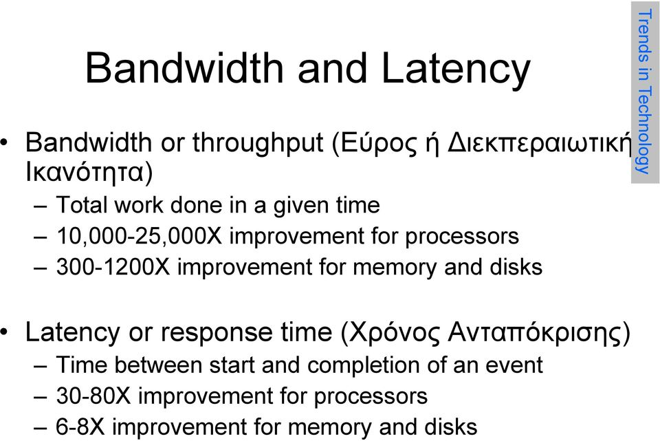 disks Latency or response time (Χρόνος Ανταπόκρισης) Time between start and completion of an