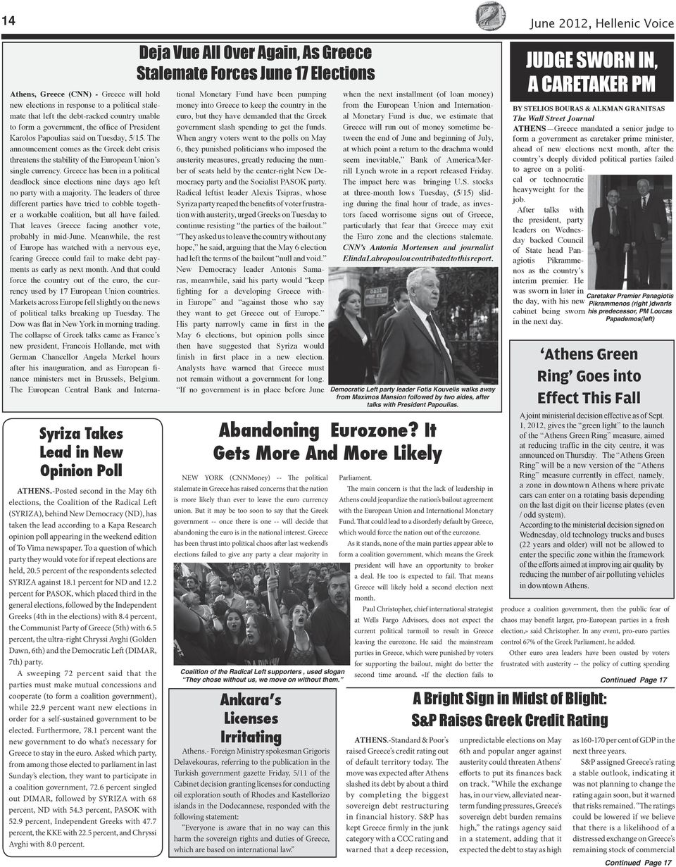 edition of To Vima newspaper. To a question of which party they would vote for if repeat elections are held, 20.5 percent of the respondents selected SYRIZA against 18.1 percent for ND and 12.