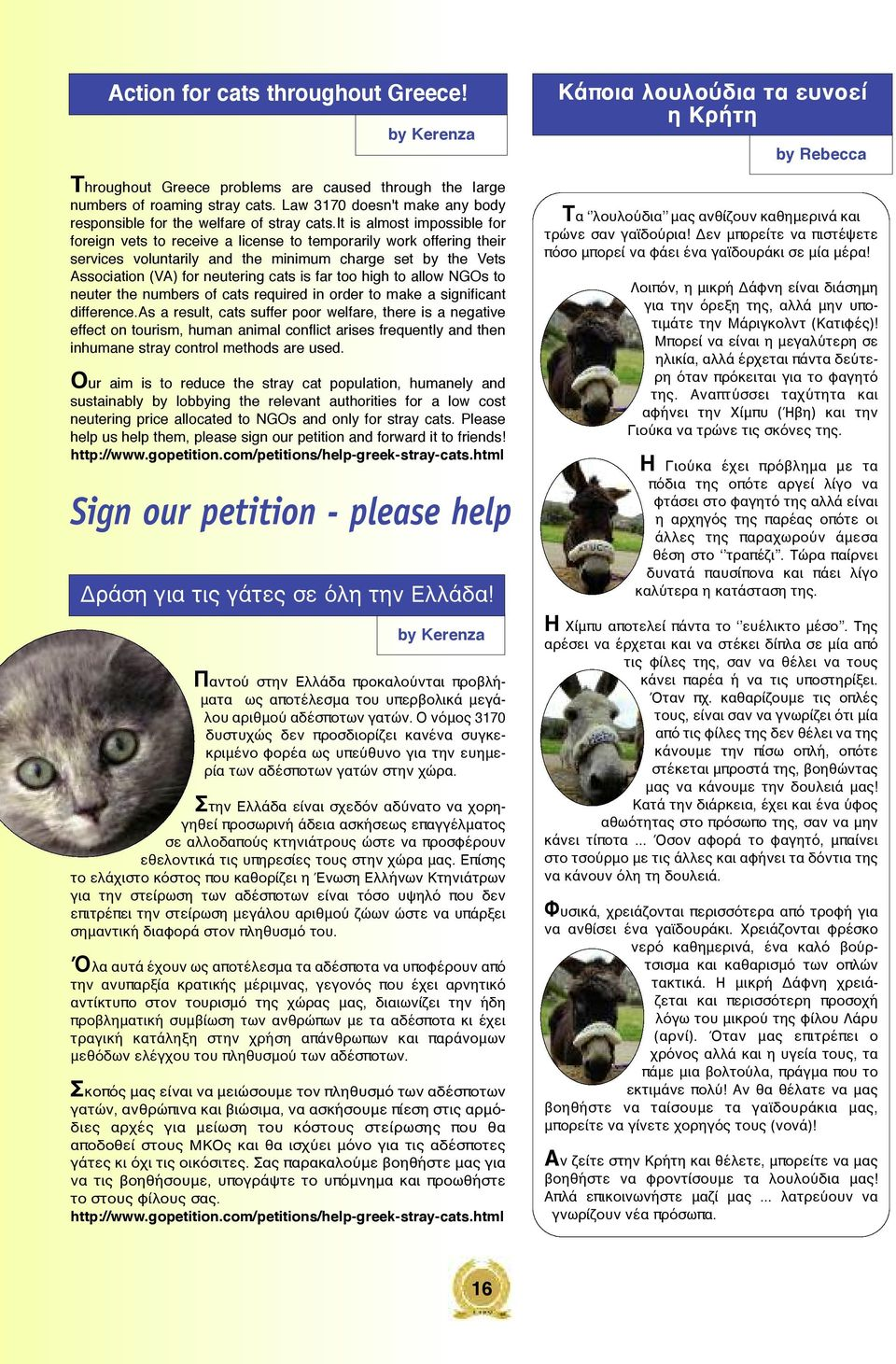 it is almost impossible for foreign vets to receive a license to temporarily work offering their services voluntarily and the minimum charge set by the Vets Association (VA) for neutering cats is far
