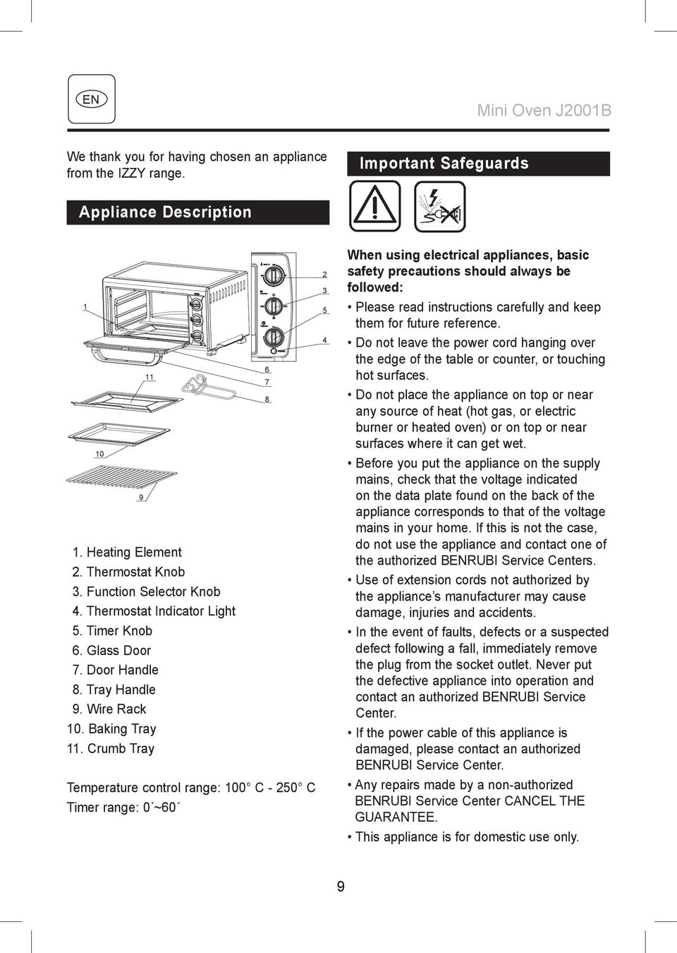 Crumb Tray Temperature control range: 100 C - 250 C Timer range: 0 ~60 2 3 5 4 When using electrical appliances, basic safety precautions should always be followed: Please read instructions carefully