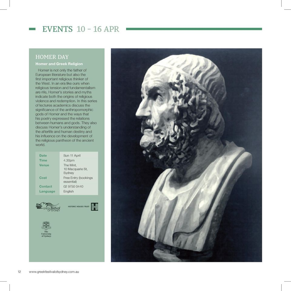 In this series of lectures academics discuss the significance of the anthropomorphic gods of Homer and the ways that his poetry expressed the relations between humans and gods.