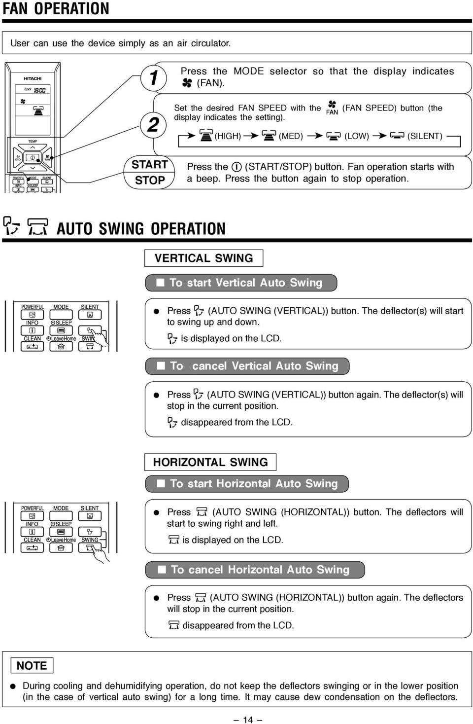 Press the button again to stop operation. AUTO SWING OPERATION VERTICAL SWING To start Vertical Auto Swing Press (AUTO SWING (VERTICAL)) button. The deflector(s) will start to swing up and down.