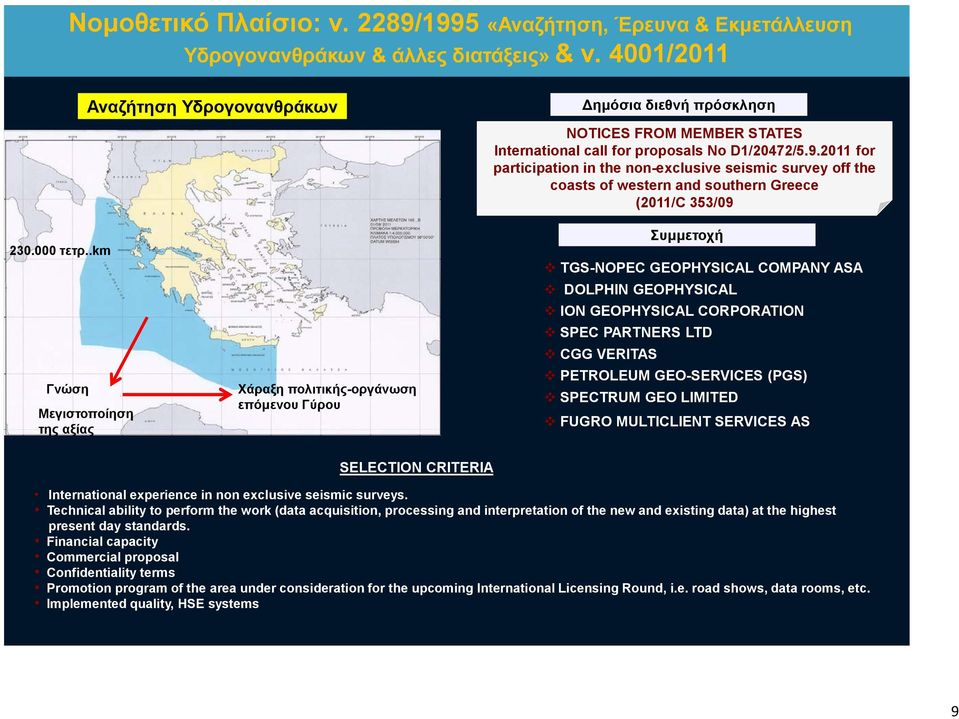 2011 for participation in the non-exclusive seismic survey off the coasts of western and southern Greece (2011/C 353/09 Συμμετοχή TGS-NOPEC GEOPHYSICAL COMPANY ASA DOLPHIN GEOPHYSICAL ION GEOPHYSICAL
