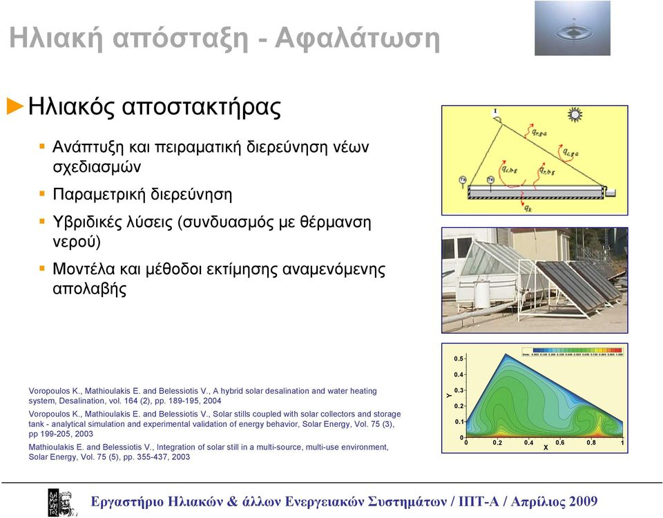, A hybrid solar desalination and water heating system, Desalination, vol. 164 (2), pp. 189-195, 2004 Voropoulos K., Mathioulakis E. and Belessiotis V.