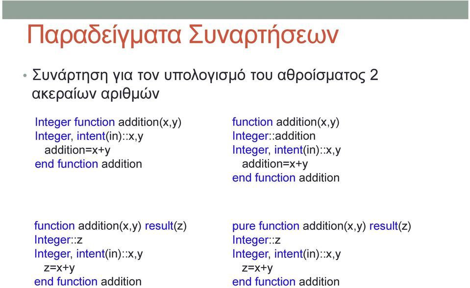 intent(in)::x,y addition=x+y end function addition function addition(x,y) result(z) Integer::z Integer, intent(in)::x,y