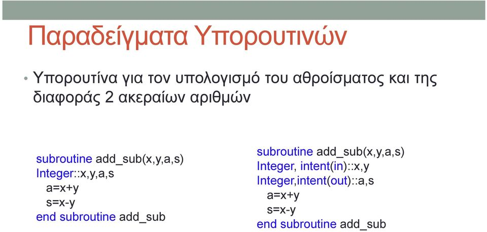 Integer::x,y,a,s a=x+y s=x-y end subroutine add_sub subroutine