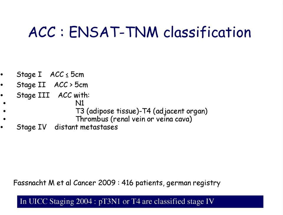 veina cava) Stage IV distant metastases Fassnacht M et al Cancer 2009 : 416