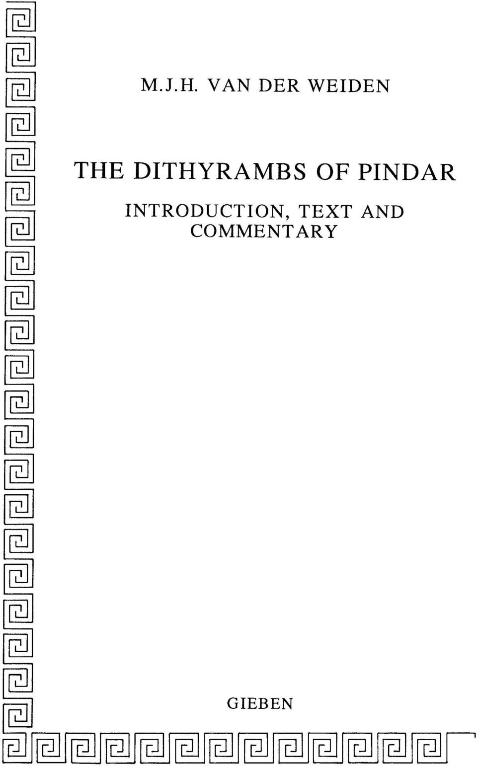 DITHYRAMBS OF PINDAR