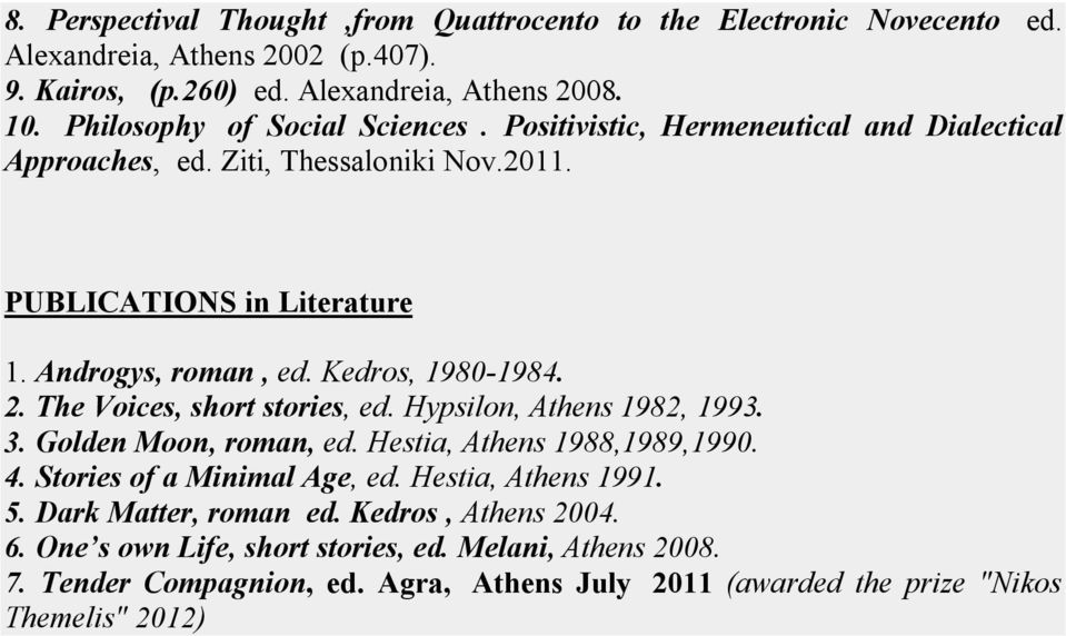 Kedros, 1980-1984. 2. The Voices, short stories, ed. Hypsilon, Athens 1982, 1993. 3. Golden Moon, roman, ed. Hestia, Athens 1988,1989,1990. 4. Stories of a Minimal Age, ed.
