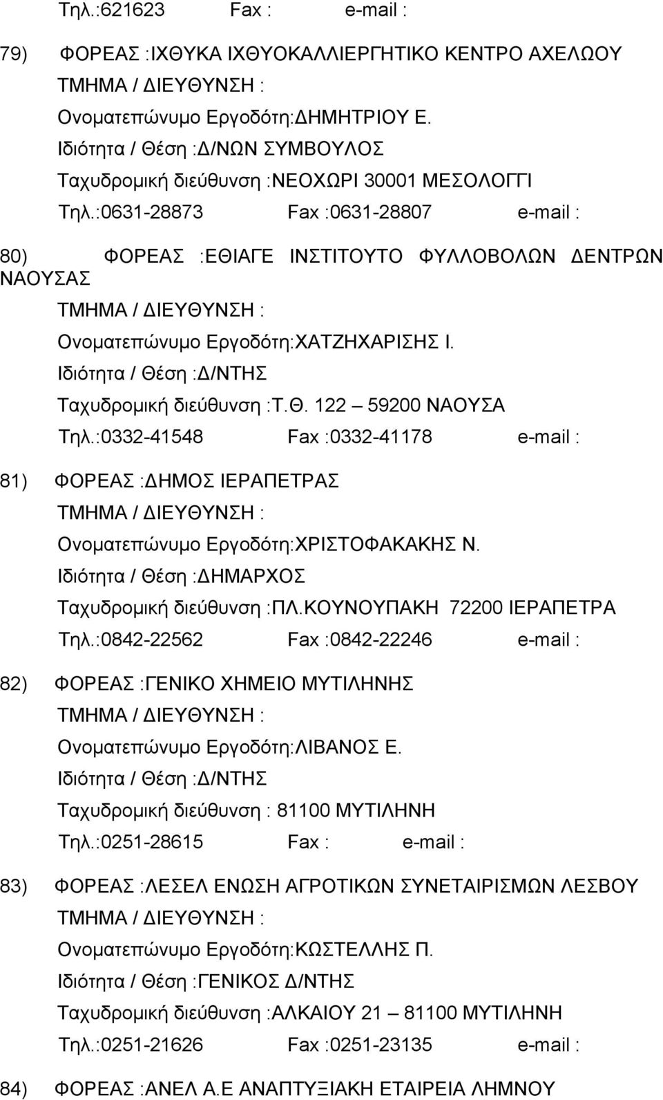 :0332-41548 Fax :0332-41178 e-mail : 81) ΦΟΡΕΑΣ : ΗΜΟΣ ΙΕΡΑΠΕΤΡΑΣ Ονοµατεπώνυµο Εργοδότη:ΧΡΙΣΤΟΦΑΚΑΚΗΣ Ν. ΗΜΑΡΧΟΣ Ταχυδροµική διεύθυνση :ΠΛ.ΚΟΥΝΟΥΠΑΚΗ 72200 ΙΕΡΑΠΕΤΡΑ Τηλ.