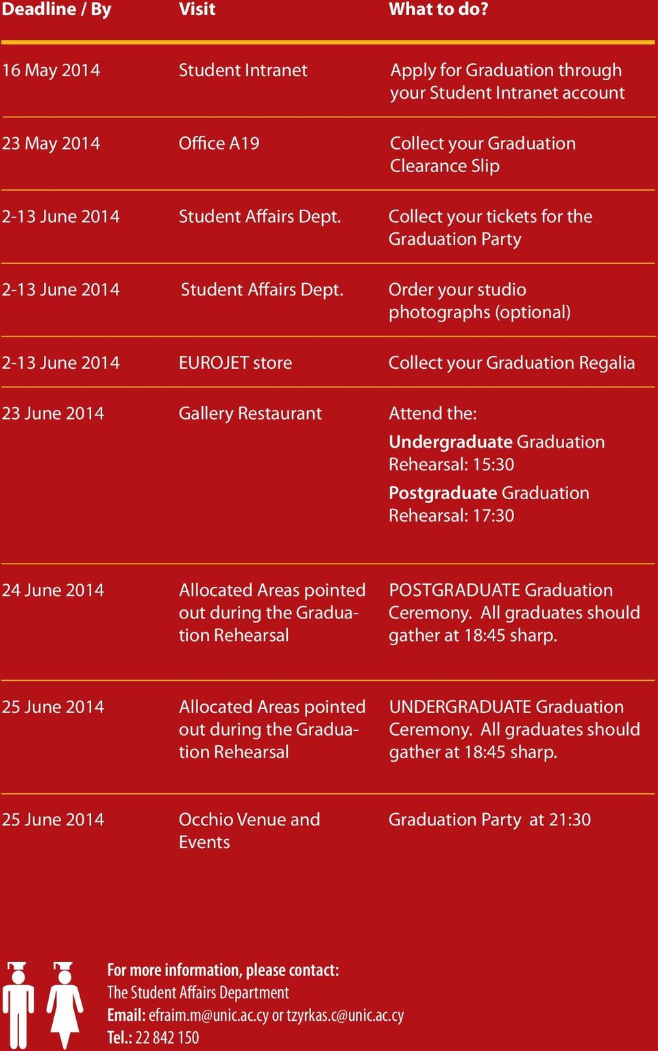 Collect your tickets for the Graduation Party 2-13 June 2014 Student Affairs Dept.