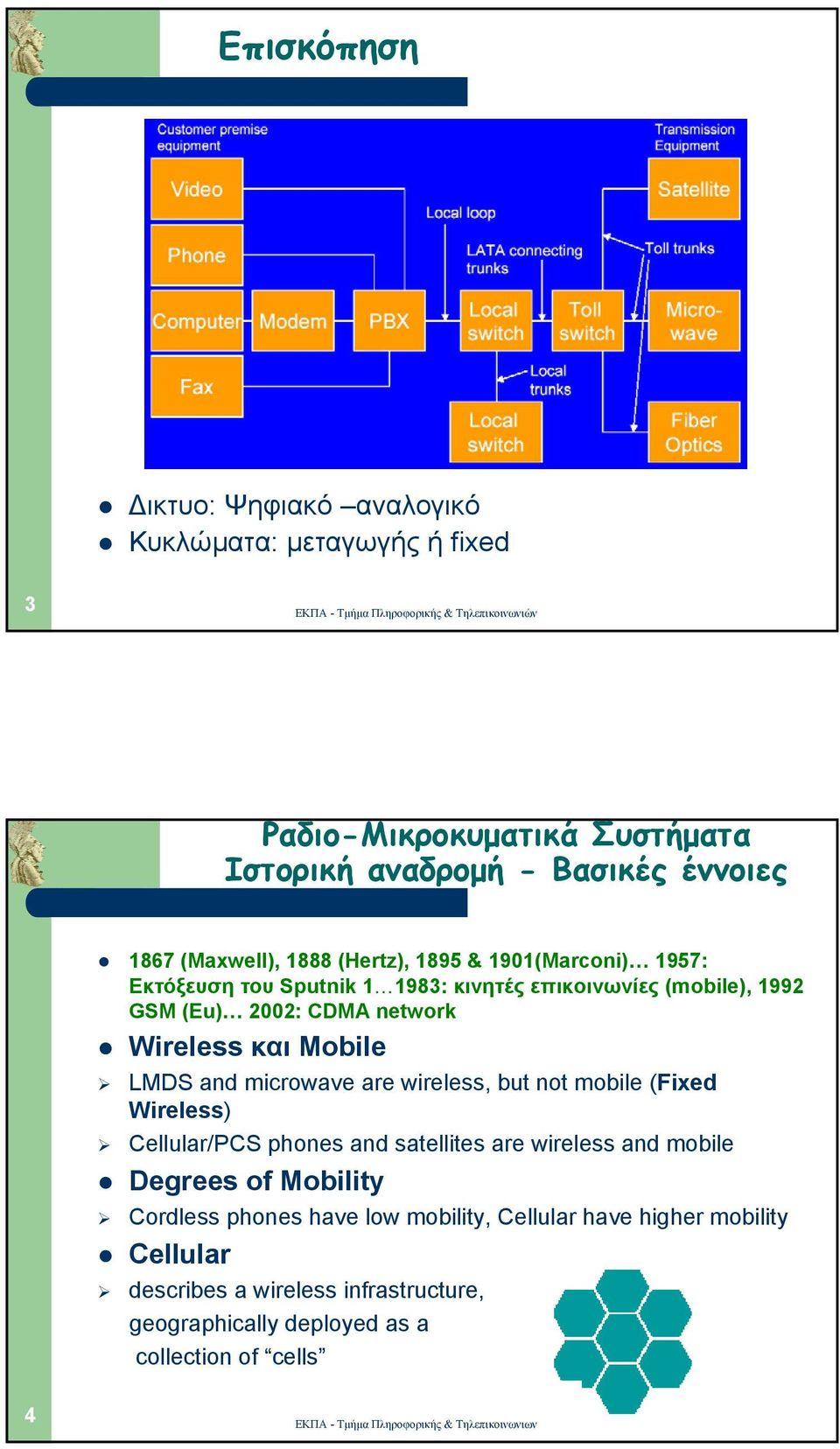 Mobile LMDS and microwave are wireless, but not mobile (Fixed Wireless) Cellular/PCS phones and satellites are wireless and mobile Degrees of Mobility