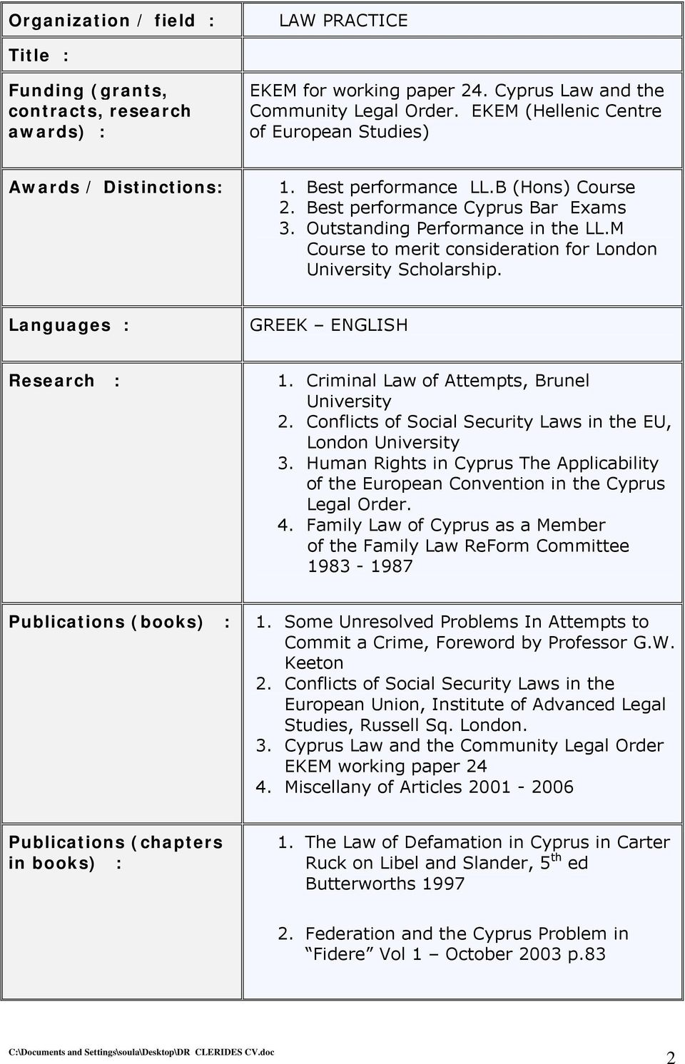 M Course to merit consideration for London University Scholarship. Languages : GREEK ENGLISH Research : 1. Criminal Law of Attempts, Brunel University 2.