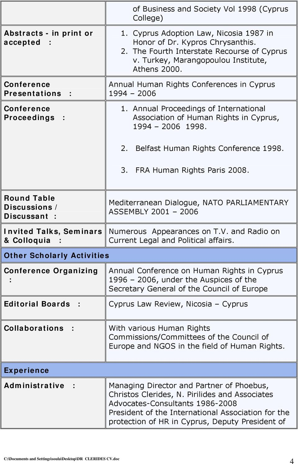 Annual Proceedings of International Association of Human Rights in Cyprus, 1994 2006 1998. 2. Belfast Human Rights Conference 1998. 3. FRA Human Rights Paris 2008.
