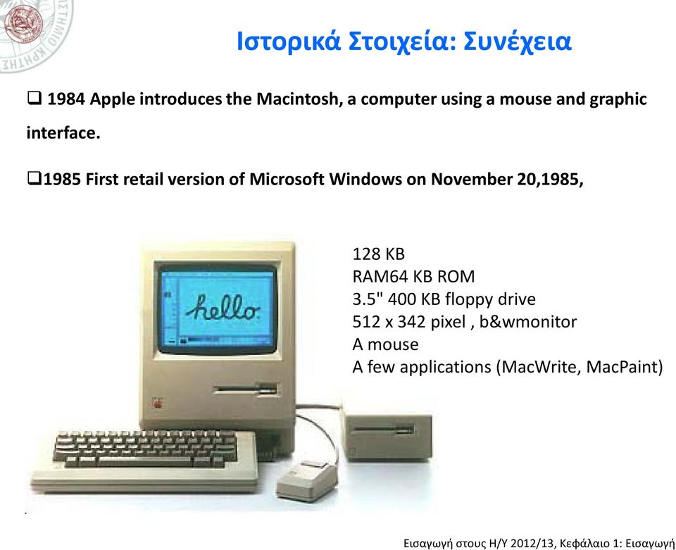 1985 First retail version of Microsoft Windows on November 20,1985, 128 KB