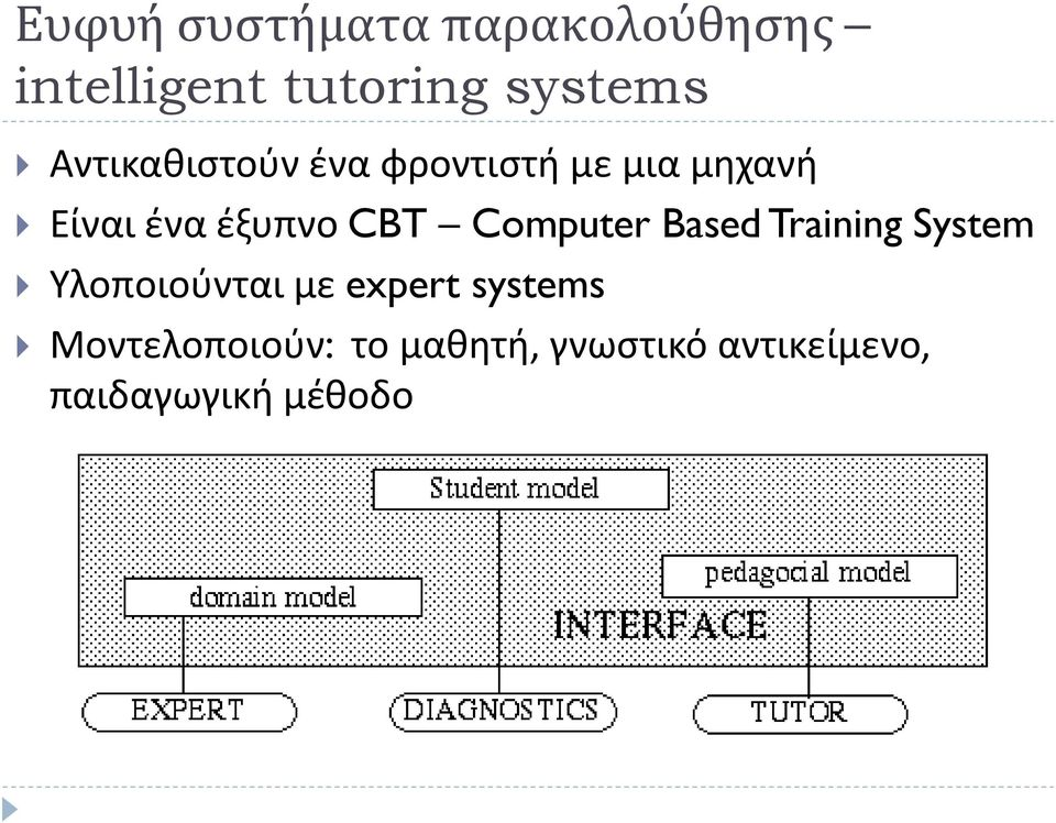 Computer Based Training System Υλοποιούνται με expert systems
