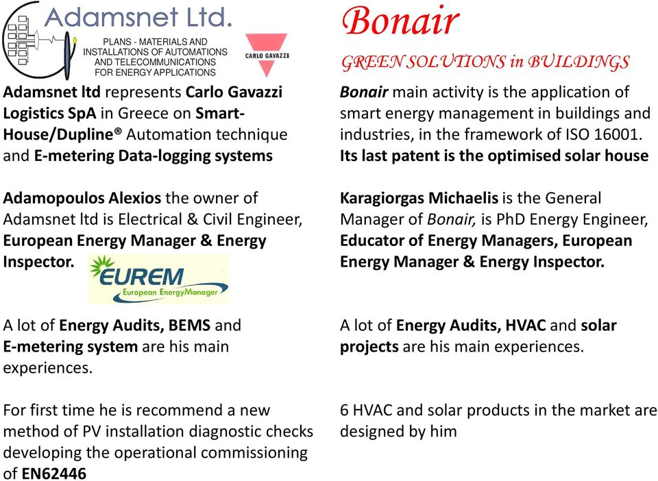 Bonair GREEN SOLUTIONS in BUILDINGS Bonair main activity is the application of smart energy management in buildings and industries, in the framework of ISO 16001.