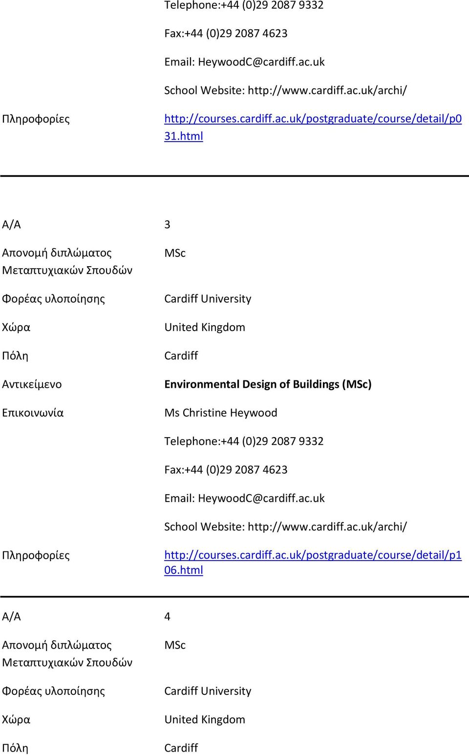 html Α/Α 3 MSc Cardiff University United Kingdom Cardiff Environmental Design of Buildings (MSc) Ms Christine Heywood cardiff.ac.