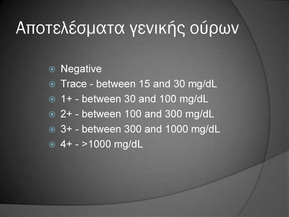 100 mg/dl 2+ - between 100 and 300 mg/dl 3+