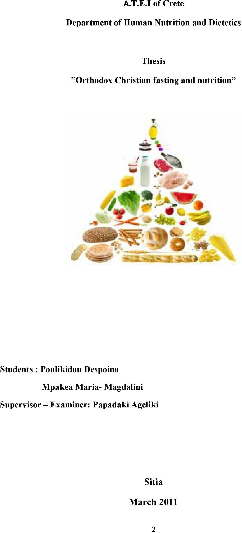 Thesis Orthodox Christian fasting and nutrition