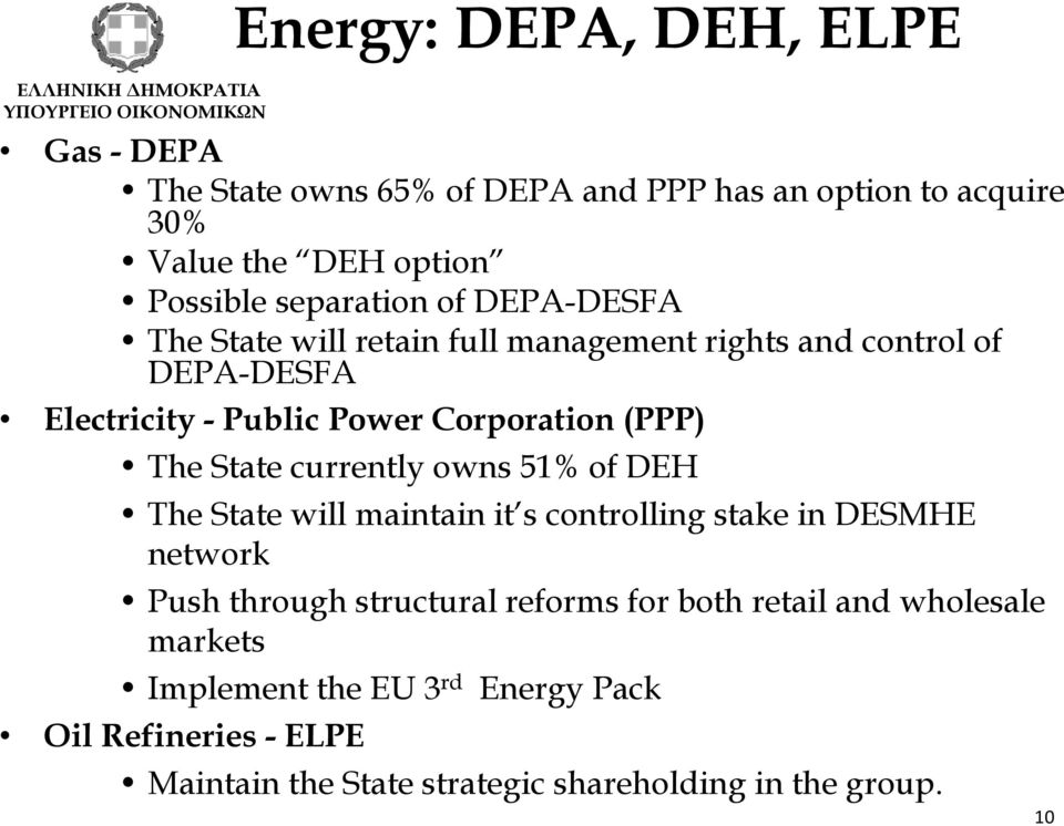 currently owns 51% of DEH The State will maintain it s controlling stake in DESMHE network Push through structural reforms for both retail