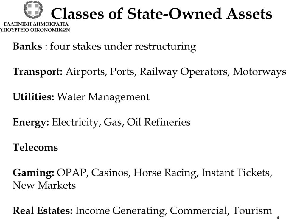 Energy: Electricity, Gas, Oil Refineries Telecoms Gaming: OPAP, Casinos, Horse
