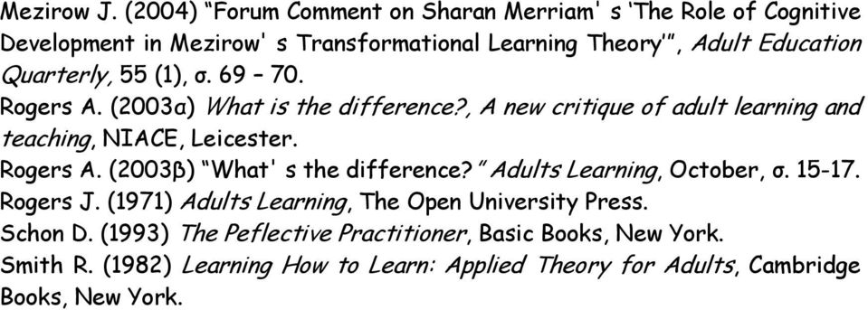 Quarterly, 55 (1), σ. 69 70. Rogers A. (2003α) What is the difference?, A new critique of adult learning and teaching, NIACE, Leicester. Rogers A. (2003β) What' s the difference?