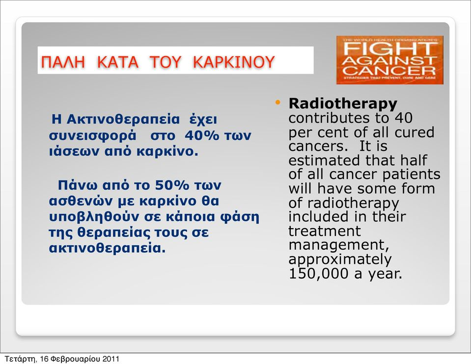 ακτινοθεραπεία. Radiotherapy contributes to 40 per cent of all cured cancers.