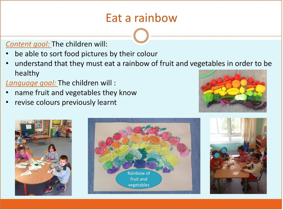 vegetables in order to be healthy Language goal: Τhe children will : name