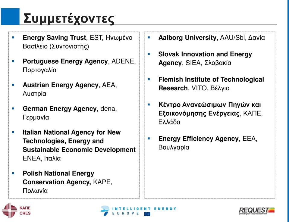 Aalborg University, AAU/Sbi, Δανία Slovak Innovation and Energy Agency, SIEA, Σλοβακία Flemish Institute of Technological Research, VITO, Βέλγιο