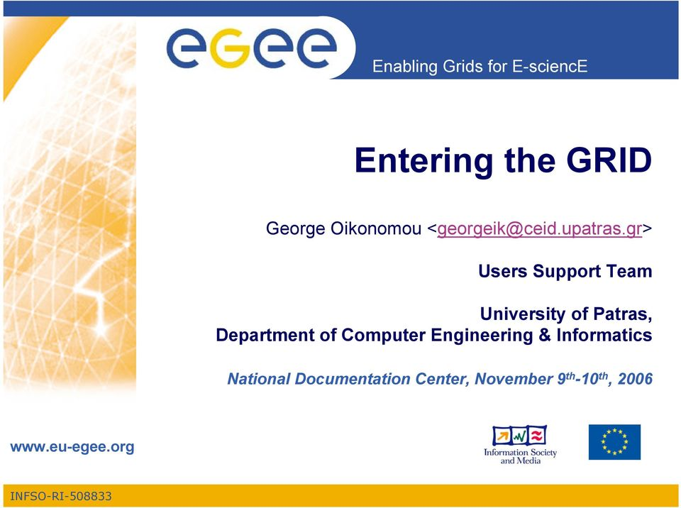 gr> Users Support Team University of Patras, Department
